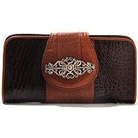 Madi Claire Kimberly Croco Embossed Leather Wallet w/ Ornament
