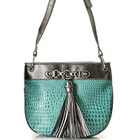 Madi Claire Abbie Croco Embossed Leather Cross Body w/ Tassel