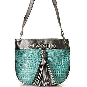 710-297 - Madi Claire Croco Embossed Leather ''Abbie'' Zip Top Cross Body Bag