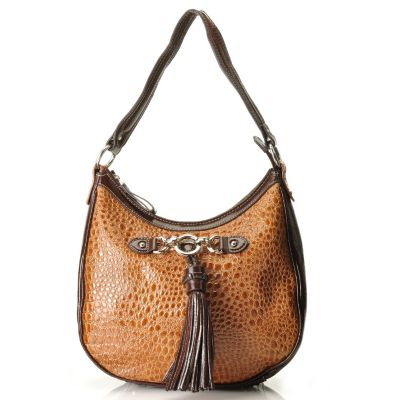 "710-298 - Madi Claire Croco Embossed Leather ""Abbie"" Zip Top Hobo Handbag"