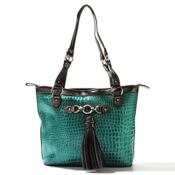 710-299 - Madi Claire ''Abbie'' Zip Top Crocodile Embossed Leather Tote Bag
