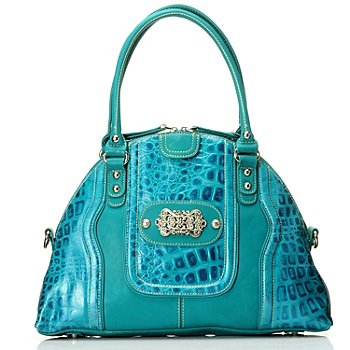 710-302 - Madi Claire Croco Embossed Leather ''Candice'' Zip Top Dome Bag