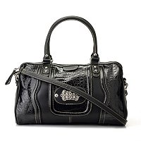 Madi Claire Candice Croco Embossed Leather Satchel w/ Ornament