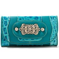 Madi Claire Candice Croco Embossed Leather Wallet w/ Ornament
