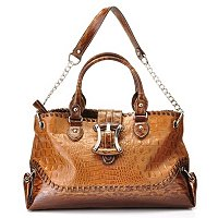 Madi Claire Kendy Croco Emobssed Leather Tote w/ Buckle