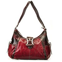 Madi Claire Kendy Croco Embossed Leather Hobo w/ Buckle