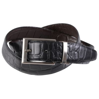 710-364 - Joseph Abboud Men's Topstitched Croc Print Reversible Leather Belt