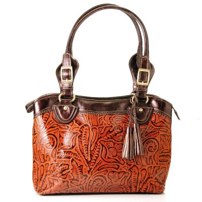 "710-422 - Madi Claire Tooled Leather ""Abigail"" Zip Top Tote Bag"