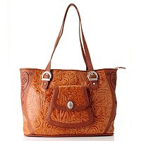 Madi Claire Savannah Tooled Embossed Leather Tote with Embroidery