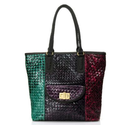 710-507 - Sondra Roberts Multi Color Double Handle Python Printed Woven Tote Bag