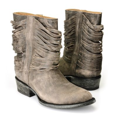 "710-515 - Matisse® Leather ""Slash"" Fringe Detailed Short Boots"