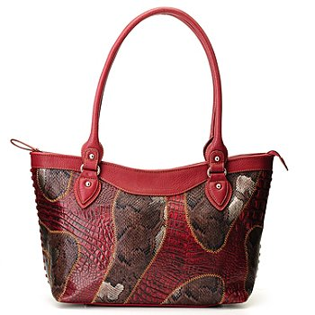 710-544 - Madi Claire ''Patchwork'' Double Handled Zip Top Leather Tote Bag