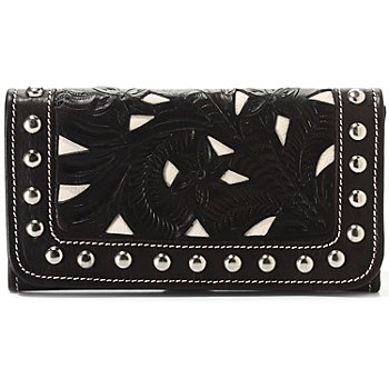 710-554 - American West Stud Detailed Hand-Tooled Leather Wallet