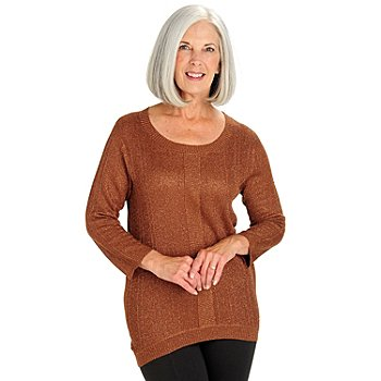 710-576 - WD.NY Knit Metallic Stitch 3/4 Sleeved Hi-Lo Sweater