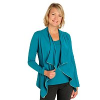 Kate & Mallory Zipper Trim Cascade Open Cardigan and Tank Set