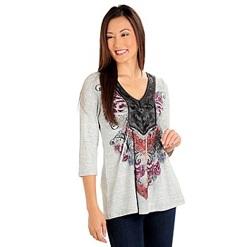 710-625 - One World Heather Knit 3/4 Sleeved Applique Bib Printed Top