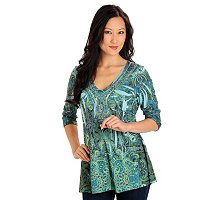 One World Paisley Print with Beaded Neckline