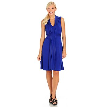 710-628 - Fever Stretch Knit Sleeveless V-Neck Empire Waist Dress