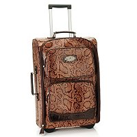 Madi Claire Snake Print Rolling Suitcase with Leather Trim