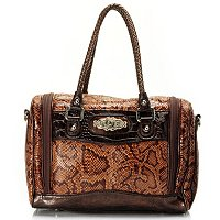 Madi Claire Snake Print Cosmetic Case Bag with Leather Trim & Adjustable Strap