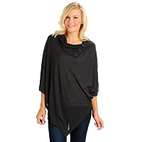 Kate & Mallory Solid Sweater Knit Poncho with Wide Button Collar On Side