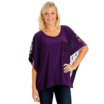 710-655 - Kate & Mallory Stretch Knit Butterfly Sleeved Wide Scoop Neck Lace Back Top