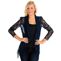 Kate & Mallory Long Sleeve Solid Lace Drape Front Cardigan