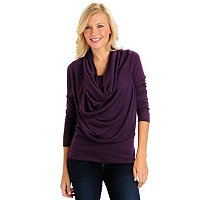 Kate & Mallory Solid Sweater Knit Top with Draped Cowl Neck