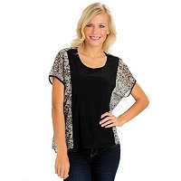 Kate & Mallory Printed Chiffon Top with Solid Jersey