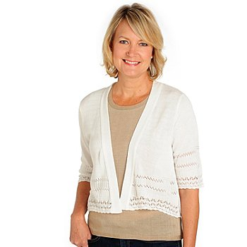 710-664 - Kate & Mallory Pointelle Knit 3/4 Sleeved Open Front Sweater Shrug