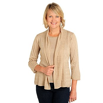 710-665 - Kate & Mallory Pointelle Knit 3/4 Sleeved Shawl Collar Cardigan Sweater