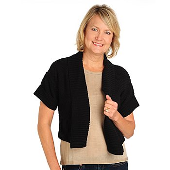 710-667 - Kate & Mallory Honeycomb Knit Short Sleeved Shawl Collar Open Sweater Shrug