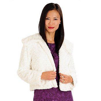 710-670 - Kate & Mallory Rosette Faux Fur Fold-over Collar Fully Lined Jacket