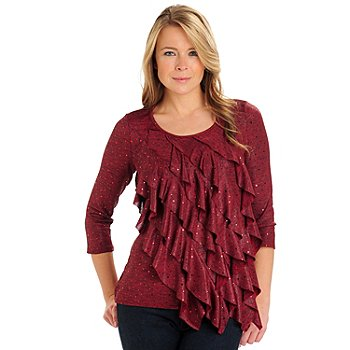 710-715 - Glitterscape Stretch Knit 3/4 Sleeved Foil Dot Accented Ruffle Top