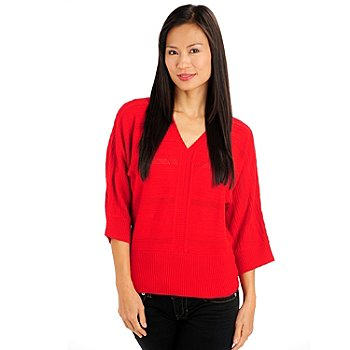 710-716 - Kate & Mallory Textured Knit Dolman Sleeved V-Neck Pullover Sweater