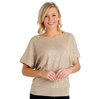 Glitterscape Sequin Knit Dolman Wedge