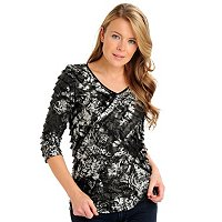 Glitterscape 3/4 Sleeve V-Neck Top