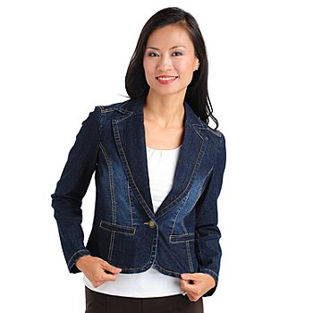 710-733 - Baccini Stretch Denim Two-Pocket One-Button Blazer