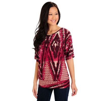 710-734 - Kate & Mallory Stretch Knit 3/4 Dolman Sleeve Banded Bottom Printed Top