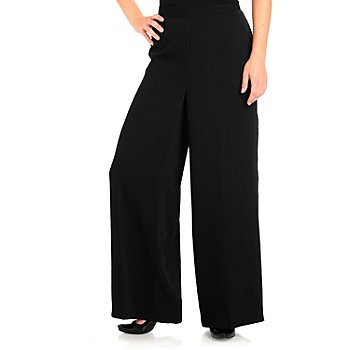 710-751 - Love, Carson by Carson Kressley Woven Back Zipped Wide Leg Pants