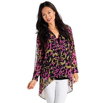 710-757 - Kate & Mallory Printed Hi-Lo Hem Sheer Blouse & Tank Top Set