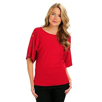 710-760 - Kate & Mallory D-Ring Accented Dolman Sleeve Banded Bottom Sweater Top