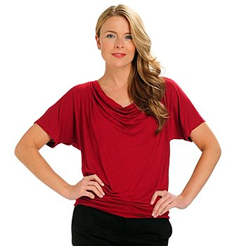 710-761 - Kate & Mallory Drape Knit Dolman Sleeved Cut-out Back Top