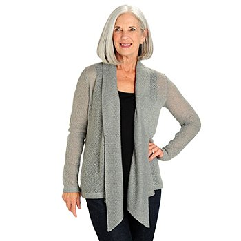 710-763 - Kate & Mallory Long Sleeved Open Front Shawl Collared Cozy