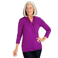 Kate & Mallory 3/4 Sleeve Twist Neck Top