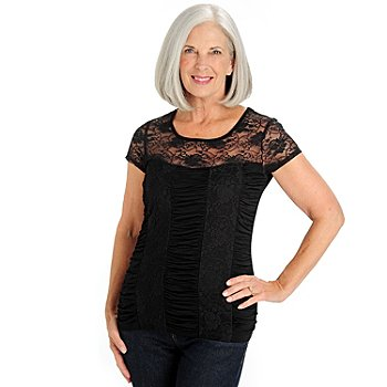710-768 - Kate & Mallory Short Cap Sleeved Scoop Neck Ruched Lace Top
