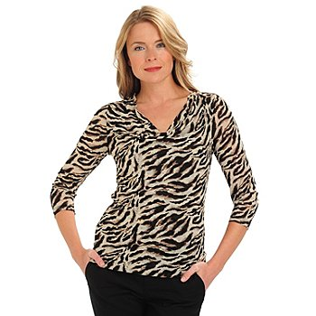 710-769 - Kate & Mallory 3/4 Sleeved Drape Neck Animal Print Mesh Top