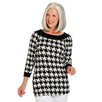 GENEOLOGY 3/4 SLEEVE BOAT NECK PRINT TOP WITH SOLID CONTRAST