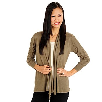 710-776 - Kate & Mallory Stretch Knit Ruched Sleeve Open Front Cardigan