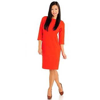 710-781 - Kate & Mallory 3/4 Sleeve Boat Neck Textured Knit Dress